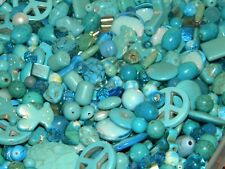 NEW 8/oz LOT 6-15mm MIXED Shades of  BLUES LOOSE BEADS LOT GLASS