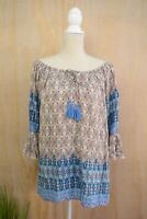 Umgee -Blue pink multicolor loose cotton blend peasant blouse, XL