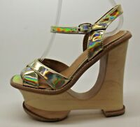 FAB LADIES JEFFREY CAMPBELL HARE 2 GOLD CUT OUT WEDGE DESIGN HEELS SANDALS 4 - 7