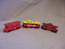 LOT 3 HO train red CABOOSES Rock Island Santa Fe 2226 B&O c1900 AS-IS