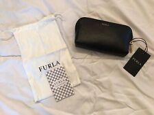 Furla Black Leather Wristlet Envelope Clutch Slim Wallet Pouch Italian
