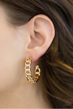 "NEW PAPARAZZI ""TRACK RECORD"" GOLD EARRINGS"