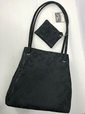 Marlo Handbag Purse New With Matching Coin Purse Black Damask Magnetic Snap