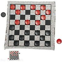 Jumbo Checker Rug Board Game Play Set, 3In 24 Checkers Pieces, New