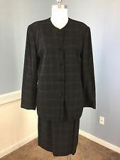 TALBOTS Black windowpane Skirt Suit Wool Blend Career Cocktail 12 14 Excellent