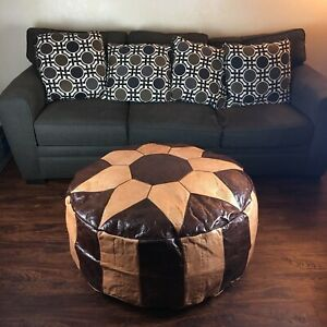 Moroccan Decor Furniture Giant Leather Pouf Ottoman Cocktail Table Brown Tan