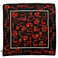 CELINE PARIS LOGO CELINE CARRIAGE BLACK RED LARGE Silk Scarf 34 Inches