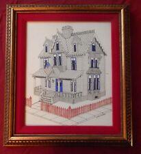 J Paul Eaton Ink Art Framed Patriotic Victorian House~VGC~Light Foxing~Fast Ship