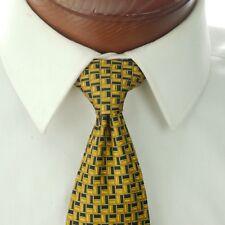 """Robert Talbott Best of Class Nordstrom Tie Gold & Blue  Geometric 3.5"""" W 60"""" L"""
