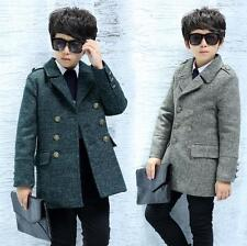 Boys Woolen Jacket Trench Duffle Jacket Suit Double Breasted Outwear Party Parka