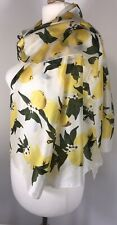 NEW Designer Inspired Scarf Pashmina Silk Viscose Lemons White Yellow Oversized