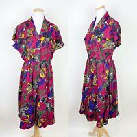 VTG Japanese Shirt Dress LARGE Fuchsia Pink Watercolor Elastic Waist 50s Style