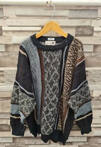 MENS VTG 90'S ABSTRACT GEOMETRIC PATTERN WOOL COSBY PULLOVER WINTER KNIT JUMPER