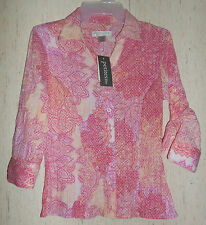 NWT WOMENS Christopher & Banks PAISLEY PRINT CRINKLE COTTON BLOUSE  SIZE P/XS