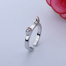 Fashion Women Girl Lady Cute Cat Adjustable Silver Plated Ring Gifts