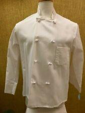 8 Knot Button Chef'S Coat Jacket & Hat White Crest Sz 46 Long Sleeve Reversible