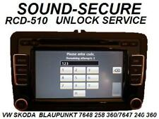 VW SKODA DECODE UNLOCK RCD510 RCD-510  TUCH SCREEN CD PLAYER