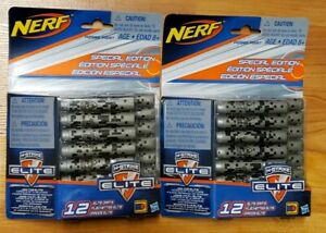 Nerf N-Strike Special Edition Elite Darts TWO PACKS OF 12 - Total 24 Gray Darts