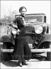 Photo: Bonnie Parker In Front Of 1932 V8 Ford Convertible Sedan