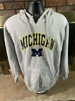 Vintage Michigan Wolverines NCAA Hooded Sweatshirt Mens Size XL Gray Football
