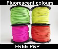 Faux Suede Cord, String, Thong 3 mm x 1.5mm - Bright Fluorescent colours (I)