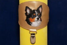 Chihuahua Longhaired arm band ring number holder with clip. For dog shows.
