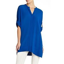 NEW BCBG LARKSPURBLUE BEA OVERSIZED BUTTON DOWN TUNIC TOP FIQ1P520/M660A SZ XS/S