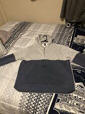 Men's Adidas Hoodie Size XL Gray Navy Blue Stripes