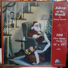 """Asleep at the Watch by George Kovach 500 Piece Jigsaw Puzzle 18""""x24"""" Santa Claus"""