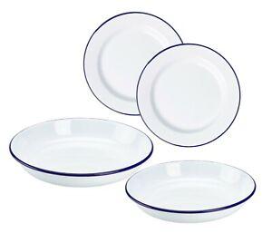 2 x Falcon White Enamel Plate Dinner Pie Baking Roasting Camping Plate Blue Rim