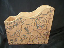 Red clay box scalloped top hand painted figures silly faces unique art file