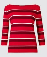 NEW LADIES SIZE 24 UK STRIPED BOAT NECK 3/4 SLEEVE TOP MARKS AND SPENCER RED MIX