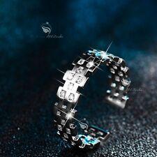 18K White Gold band Simulated Diamond Ring open free size fashion attitude