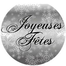 """40 étiquettes rondes 35 mm autocollantes """"joyeuses Fêtes """" argenté."""