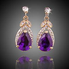 Fashion Women Crystal 18K Gold Plated Purple Zircon Earrings