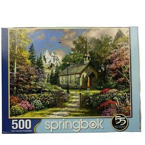Springbok 500 Piece Puzzle Mountain View Chapel Church Complete