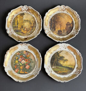 """4 Vintage Hand Painted Coasters Dish Venetian Style Tray Blanche Porte Italy 4"""""""