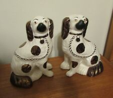 Antique pair of Staffordshire copper luster spaniel dogs 9 inches 19th