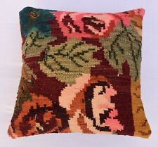 Handwoven Vintage Kilim Cover, Couch Throw  Boho Pillowcase İnterior, 16''x 16''