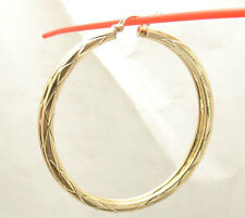 "2"" 50mm Large Diamond Cut Flat Round Hoop Earrings REAL 10K Yellow Gold"