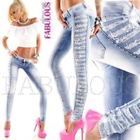 Sexy Women's Jeans Ripped Distressed Lace Diamante Size 4 6 8 10 12 XXS XS S M L