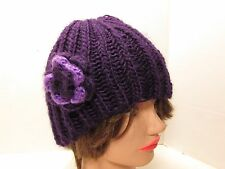Vintage Handmade Knitted Purple Rosette Cloche Hat