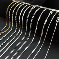 Wholesale 925 Silver Sterling Figaro Wave Chain Women Men Necklace 16''-30''