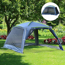 Camping Tent Sun Shelter Mesh Zipper Shade Foldable Garden Dark Green
