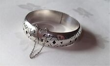 Vintage Taxco Sterling Silver Hinged Bracelet Pierced Design Safety Chain