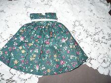 "Doll Dress, 7 12"", Green w/ Flower Print, white ribbon around waist, Sleeveless"