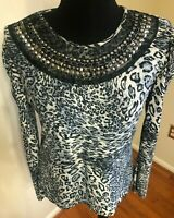 Bella Berry Women's Grey & Black Animal Print Long Sleeve Beaded Neckline Top XL