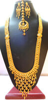 """4Indian 22K Gold Plated Bollywood 12""""  Gorgeous Necklace Earrings Tikka Set m"""