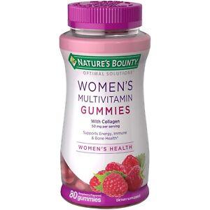 Nature's Bounty Women's Multivitamin Gummies W. Collagen Energy Immune Bone 80Ct