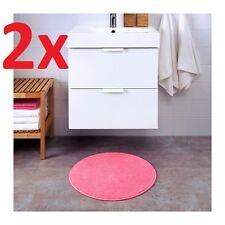 2x IKEA BADAREN Anti-Slip Microfibre Round Bath Mat Bathmat Bathroom Rug in Pink